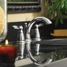 Brantford Chrome Widespread Lavatory Faucet with Pop-up Drain   -- T6620 -- Moen