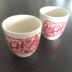 """2"""" tall by 1 7/8"""" wide single egg cups with English countryside pattern on one side and English fox hunting scene on opposite. From NanasCherishedChina on Etsy"""