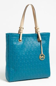MICHAEL Michael Kors 'Jet Set' Embossed Monogram Leather Tote available at #Nordstrom
