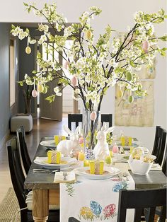 You should do this to your table at Easter!! love the tall arrangement! Table-runner and Easter Tree