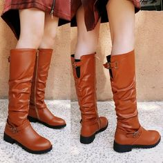 Women  Round Toe Pleated Over Knee Thigh High Boots Pull On Flat Heel Size 34-48