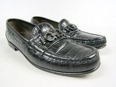 6de0ff8dd4d2 Womens Salvatore Ferragamo Croc Print Black Leather Gancini Bit Loafers  Shoes 7B  fashion  clothing
