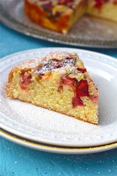 rhubarb cake and i added wheat germ, wheat bran, and ground flax as well