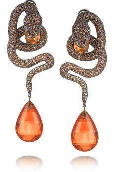 Lydia Courteille Snake 18-karat blackened gold multi-stone earrings | NET-A-PORTER