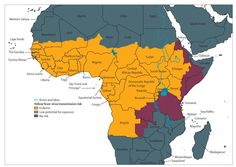 Map: Africa showing areas at risk for Yellow Fever Transmision in Angola, Tanzania, Democratic Republic of the Congo, Republic of the Congo,...