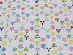 King Size Smallscale Tiny 3 034 Touching Stars Vintage 30s Quilt 107x80 034 | Vintageblessings