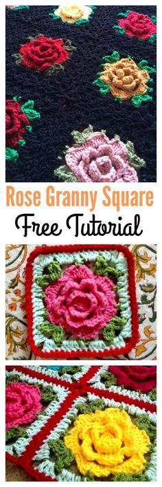Crochet Square Pattern Crochet Rose Granny Square Afghan Free Tutorial - These Rose Granny Square Afghan Free Patterns feature vibrant roses in a granny square frame. The beauty of roses will be forever fresh in afghans. Granny Square Häkelanleitung, Crochet Granny Square Afghan, Granny Square Crochet Pattern, Crochet Flower Patterns, Afghan Crochet Patterns, Crochet Squares, Crochet Motif, Crochet Flowers, Square Blanket