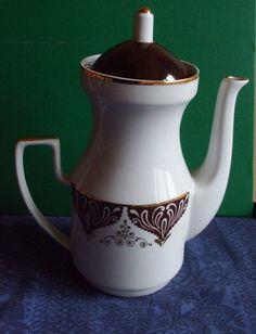 Vintage USSR Latvia Riga RPR Porcelain  Cofee Pot  Gold Brown  1970s #48