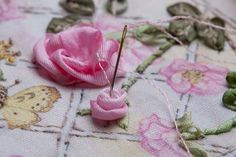 I ❤ ribbon embroidery . . . Twirled Ribbon Rose Step 8 ~By Di Van Niekerk