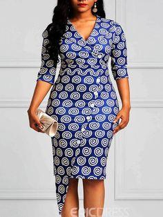 Silhouette: Bodycon Dress Length: Knee-Length Sleeve Length: Three-Quarter Sleeve Neckline: V-Neck Combination Type: Single Closure: Pullover Pattern: Geometric,Color Block Embellishment: Patchwork,Button,Print * Size Dress Length Bust Waist Shoulder Hi African Fashion Designers, Latest African Fashion Dresses, African Print Dresses, African Dresses For Women, African Print Fashion, African Attire, Dress Fashion, Indian Fashion, Africa Fashion