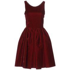 Alaïa Short Dress ($2,350) ❤ liked on Polyvore featuring dresses, maroon, velvet dress, sleeveless short dress, maroon dress, sleeveless dress and flare dress