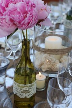 Wine theme - wine bottles with flowers