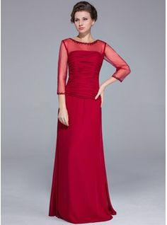 Mother of the Bride Dresses - $154.99 - Sheath/Column Scoop Neck Floor-Length Chiffon Tulle Mother of the Bride Dress With Beading Sequins  http://www.dressfirst.com/Sheath-Column-Scoop-Neck-Floor-Length-Chiffon-Tulle-Mother-Of-The-Bride-Dress-With-Beading-Sequins-008025700-g25700