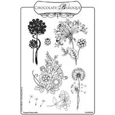 Fragrant Honeysuckle Unmounted Rubber Stamp sheet