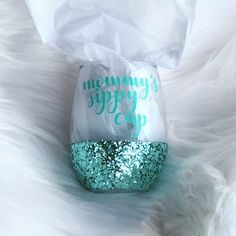 Excited to share the latest addition to my shop: Mommy's Sippy Cup Tiffani Turquoise Chunky Glitter Dipped 15 Ounce Stemless Wine Glass Wine Bottle Glasses, Diy Glasses, Wine Bottles, Cotton Candy Favors, Wine Glass Crafts, Glitter Wine, Glitter Tumblers, Wine Gift Baskets, Custom Tumblers