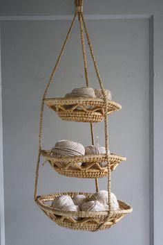 vintage tiered hanging basket by littlebyrdvintage on Etsy
