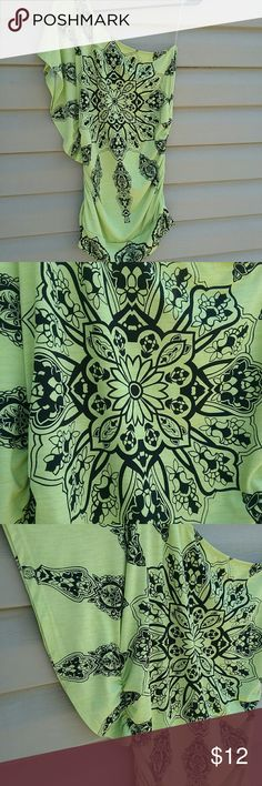 Studio Y one shoulder top NWOT Beautiful Studio Y one shoulder top, yellow/green color with black design, with stretchy sides size S Studio Y Tops