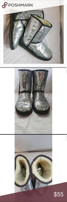 Ugg boots Silver sequin ugh boots no missing sequins worn a couple times. Perfect for a cold winter day UGG Shoes Winter & Rain Boots