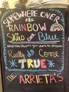 Chalkboard art :-) endless possibilities Chalkboard Lettering, Chalkboard Ideas, Chalk Board, Cricut, Rainbow, Couture, Quotes, Crafts, Qoutes