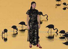 Schwarz und Gold Qipao/Cheongsam Kleid bestickt von TinyTemple