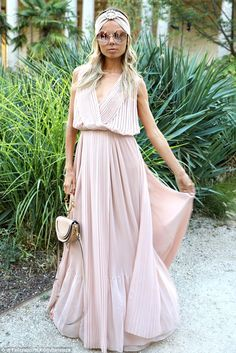 Ethereal: Italian stylist Erica Pelosini looked pretty in pink at the fashion show