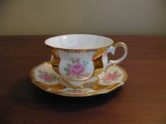 Collingwood Bone China Footed Teacup and Saucer Set Pink Roses Gold Gilt Panels