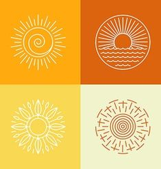Illustration about Vector outline sun icons and logo design elements - set of abstract emblems. Illustration of monogram, label, illustration - 46955504 Icon Design, Gfx Design, Design Ios, Logo Design Inspiration, Branding Design, Flat Design, Vector Design, Yoga Logo, Sun Illustration
