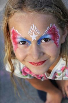 of July Butterfly Face Painting Girl Face Painting, Face Painting Designs, Painting For Kids, Painting Tips, Body Painting, Art For Kids, Face Paintings, Cow Face Paints, 4th Of July Makeup