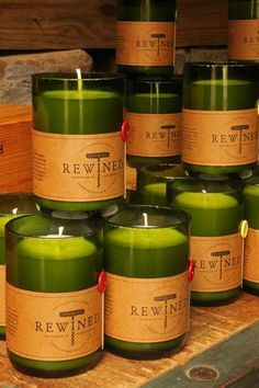 Rewined candles made out of recycled wine bottles Wine Bottle Candle Holder, Candle Holders, Candle Shop, Candle Jars, Rewined Candles, Incense Packaging, Recycled Wine Bottles, Wine Wall, Painted Wine Glasses