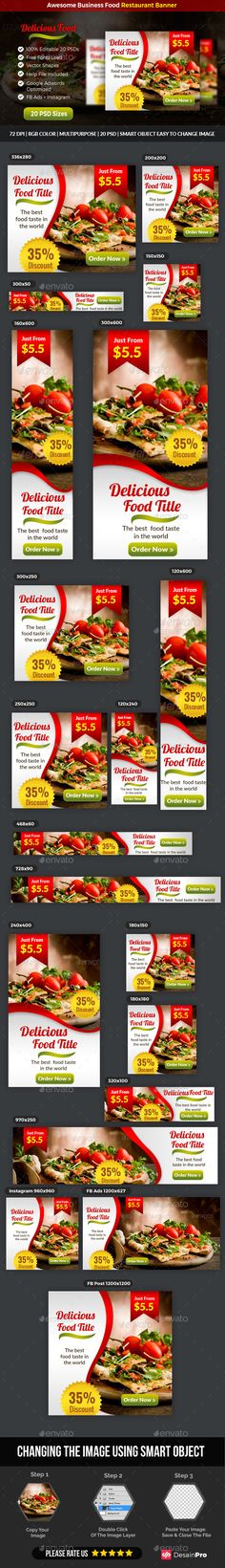 Business Food Restaurant Banner Facebook Ads and Instagram Templates PSD. Download here: https://graphicriver.net/item/business-food-restaurant-banner-facebook-ads-and-instagram/17606240?ref=ksioks