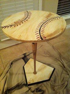 this super cute diy wooden baseball table . so cute looks like a baseball and home plate Baseball Table, Baseball Scoreboard, Baseball Mom, Baseball Games, Baseball Display, Softball Mom, Softball Cheers, Softball Pitching, Softball Stuff