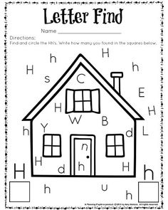 Letter Recognition Worksheets for Kindergarten. 20 Letter Recognition Worksheets for Kindergarten. Letter H Activities For Preschool, Preschool Curriculum, Preschool Learning, Kindergarten Worksheets, Free Preschool, Homeschool, Learning Activities, Preschool Circus, Dinosaurs Preschool