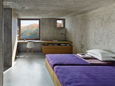 In Brissago, Switzerland, the kitchen of a vacation house by Wespi de Meuron Romeo Architetti overlooks Lago Maggiore.Photography by James Silverman. Interior Design Magazine, Interior Architecture, Interior And Exterior, Concrete Interiors, Concrete Bedroom, Large Homes, Interiores Design, Interior Decorating, New Homes