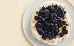 // pavlova with lemon curd and berries