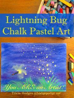 Capture a favorite summer memory with a lightning bug chalk pastel art tutorial because you ARE an artist! A fun summer art project for all ages. Chalk Pastel Art, Chalk Pastels, Chalk Art, Soft Pastels, Kindergarten Art, Preschool Art, Firefly Art, Summer Art Projects, Bug Art