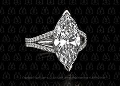 Marquise diamond ring with split shank by Leon Megé.