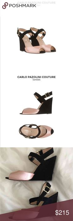 Carlo Pazolini Couture Wedged Sandals Gorgeous Carlo Pazolini Couture wedge sandals. Purchased at the Carlo Pazolini boutique in Venice, Italy for $395.00. Gorgeous pink soft leather and black velvet. Size 39 (8/8.5) but fit 7.5-8. Only worn a handful of times. Offers welcome, feel free to ask any questions! carlo pazolini Shoes Wedges