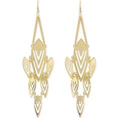 Jules Smith Geometric Chandelier Earrings (110 BRL) ❤ liked on Polyvore featuring jewelry, earrings, yellow gold, geometric earrings, yellow gold earrings, yellow gold chandelier earrings, jules smith earrings and gold earrings jewelry