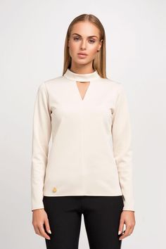 Fashion Blouse in Beige with Seam Back