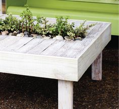 DIY Living Pallet Table. Indoor or outdoor table with living garden center made from upcycled pallet.