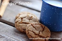 Served Up With Love: Ginger Snaps-Crunchy ginger cookies with a chewy center. Perfect for the holidays. www.servedupwithlove.com