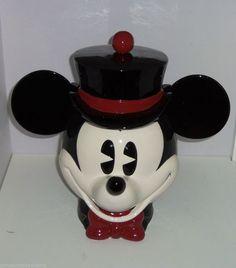 Disney Mickey Mouse Cookie Jar Pie Eyed Top Hat Bow Tie Enesco NIB Rare Retired