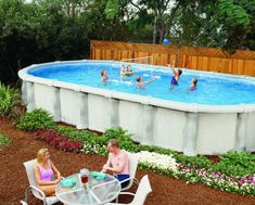 Love this shape pool!  above ground pools | Above Ground Pools