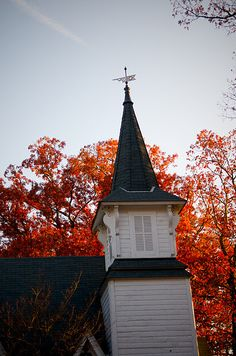 Church Steeple In Autumn. I LOVE old churches.  I always like to think of it's story and who all has worshipped within it's doors.