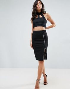 Lipsy Pencil Skirt With Lace Insert
