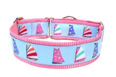 Sailboat Summer Dog Collar by Wagologie