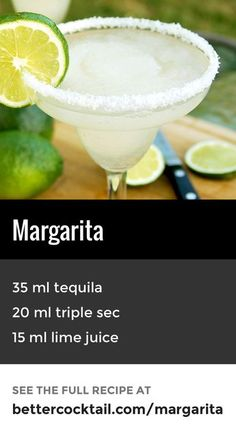 The Margarita is a popular cocktail made with tequila, triple sec and lime juice. The drink is sometimes served with salt on the rim of the iconic glass na Popular Cocktails, Classic Cocktails, Summer Drinks, Cocktail Drinks, Cocktail Margarita, Cocktail Glass, Margarita Tequila, Margarita Recipes, Cocktail Recipes