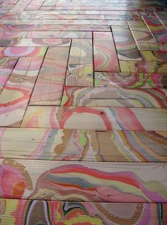 Love this idea for a colorful floor.