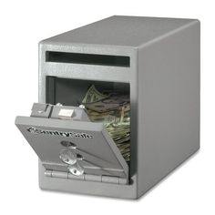 """Sentry Safe Safe, Drop Slot, Dual Key Lock, 6x12-1/4x8-1/2, Gray SKU-PAS954407 by Sentry Safe. $180.01. Sentry Safe Safe, Drop Slot, Dual Key Lock, 6""""x12-1/4""""x8-1/2"""", GrayDrop Slot Safe offers a unique design to protect cash, receipts, deposit slips, keys and other valuables against theft and burglaries. Ideal for convenience stores, restaurants, bars, hotels/motels, small cash businesses, pawn shops, independent store fronts and not-for-profit op..."""