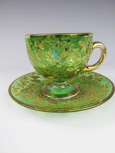 C1880 Moser Bohemian Glass Cup Saucer Fantastic Enamel | eBay